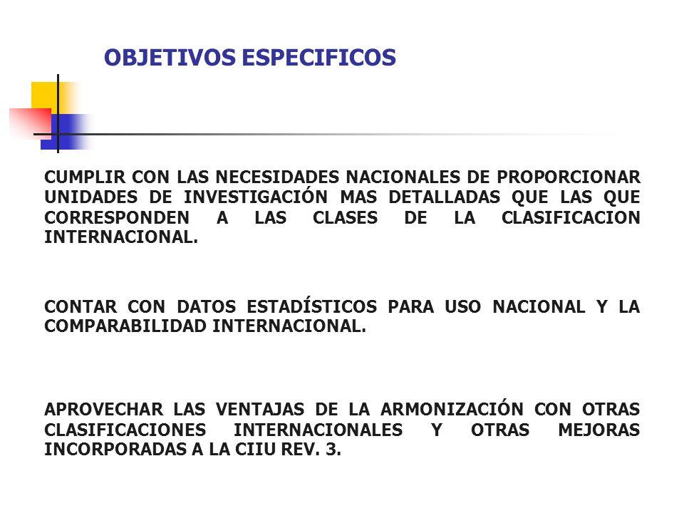 OBJETIVOS ESPECIFICOS CUMPLIR CON LAS NECESIDADES NACIONALES DE PROPORCIONAR UNIDADES DE INVESTIGACIÓN MAS DETALLADAS QUE LAS QUE CORRESPONDEN A LAS C