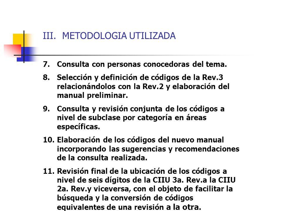 III. METODOLOGIA UTILIZADA 7.Consulta con personas conocedoras del tema. 8.Selección y definición de códigos de la Rev.3 relacionándolos con la Rev.2