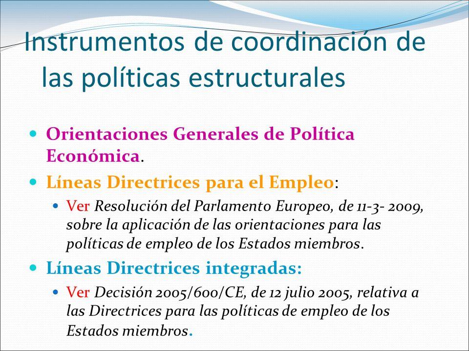 Instrumentos de coordinación de las políticas estructurales Orientaciones Generales de Política Económica. Líneas Directrices para el Empleo: Ver Reso