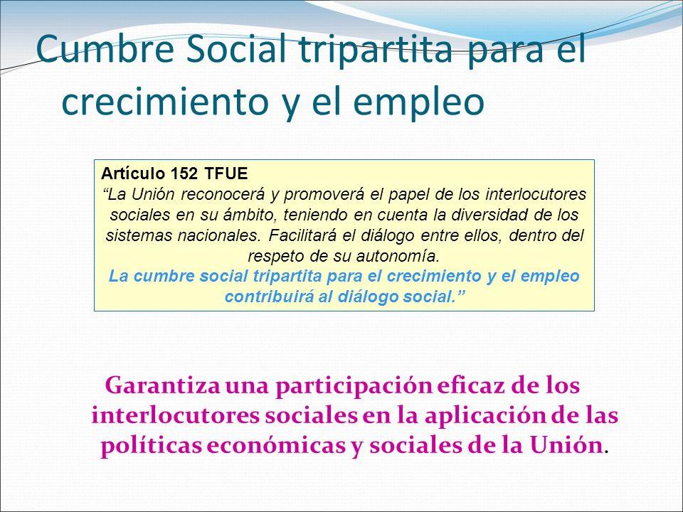 Cumbre Social tripartita para el crecimiento y el empleo Garantiza una participación eficaz de los interlocutores sociales en la aplicación de las pol