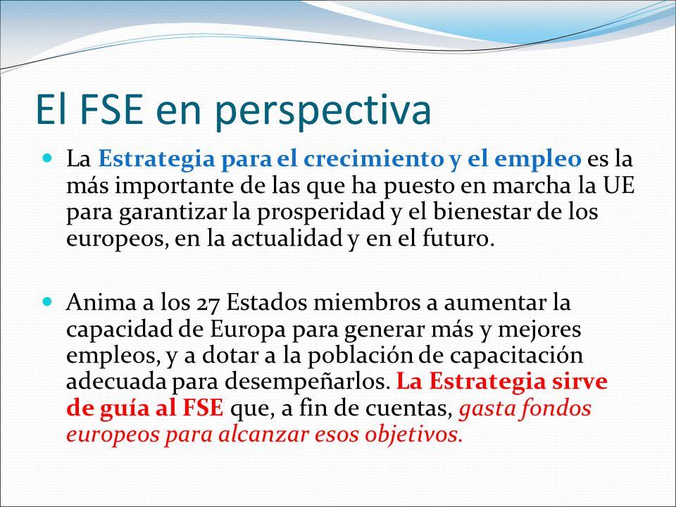 El FSE en perspectiva La Estrategia para el crecimiento y el empleo es la más importante de las que ha puesto en marcha la UE para garantizar la prosp