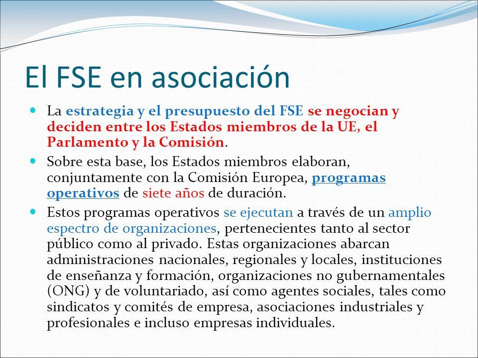 El FSE en asociación La estrategia y el presupuesto del FSE se negocian y deciden entre los Estados miembros de la UE, el Parlamento y la Comisión. So