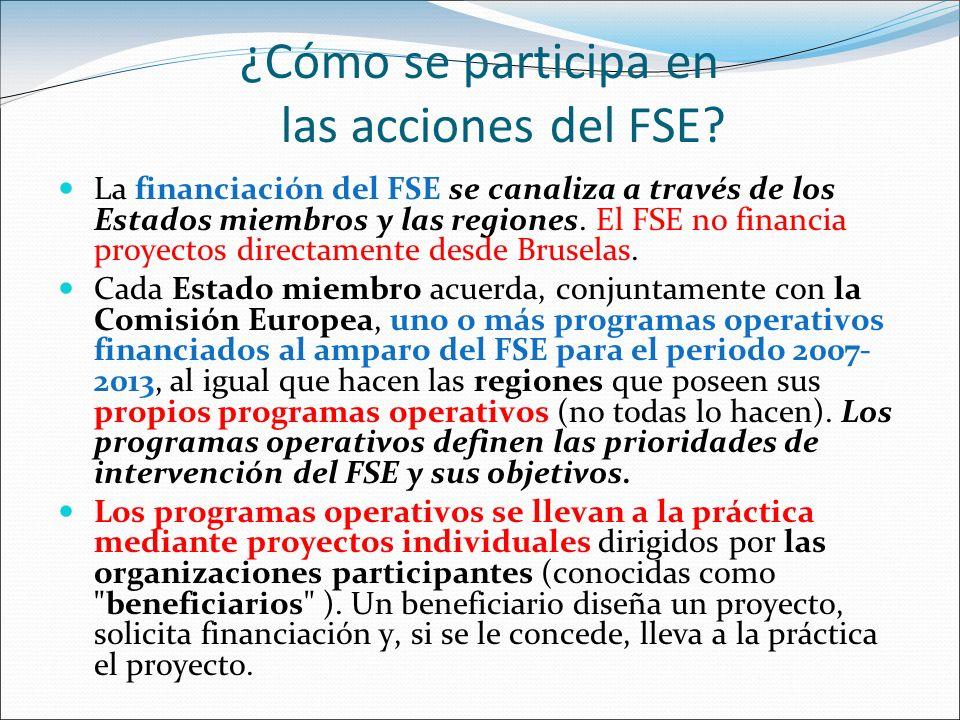 ¿Cómo se participa en las acciones del FSE? La financiación del FSE se canaliza a través de los Estados miembros y las regiones. El FSE no financia pr