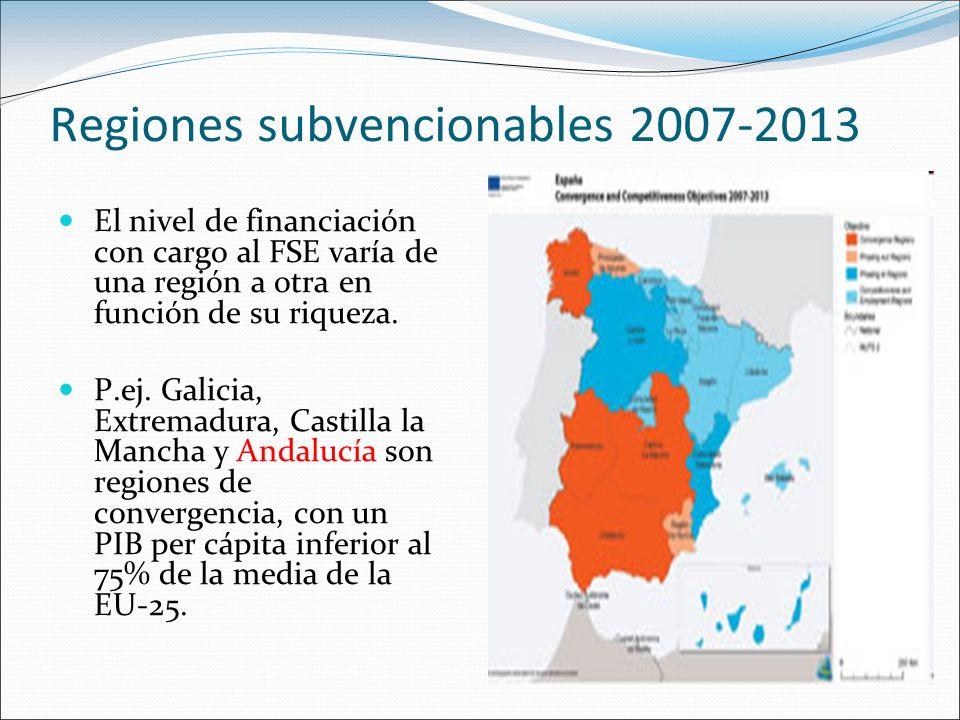 Regiones subvencionables 2007-2013 El nivel de financiación con cargo al FSE varía de una región a otra en función de su riqueza. P.ej. Galicia, Extre