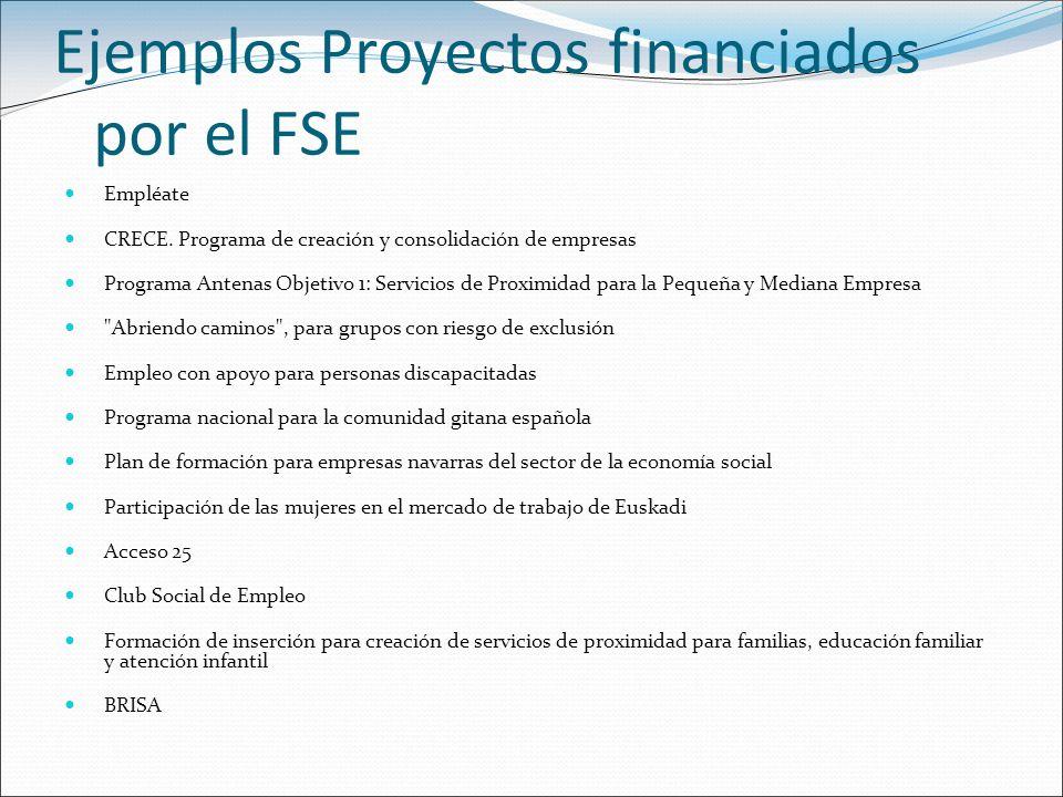 Ejemplos Proyectos financiados por el FSE Empléate CRECE. Programa de creación y consolidación de empresas Programa Antenas Objetivo 1: Servicios de P