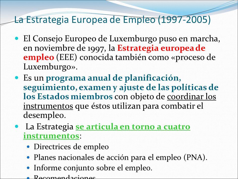 La Estrategia Europea de Empleo (1997-2005) El Consejo Europeo de Luxemburgo puso en marcha, en noviembre de 1997, la Estrategia europea de empleo (EE
