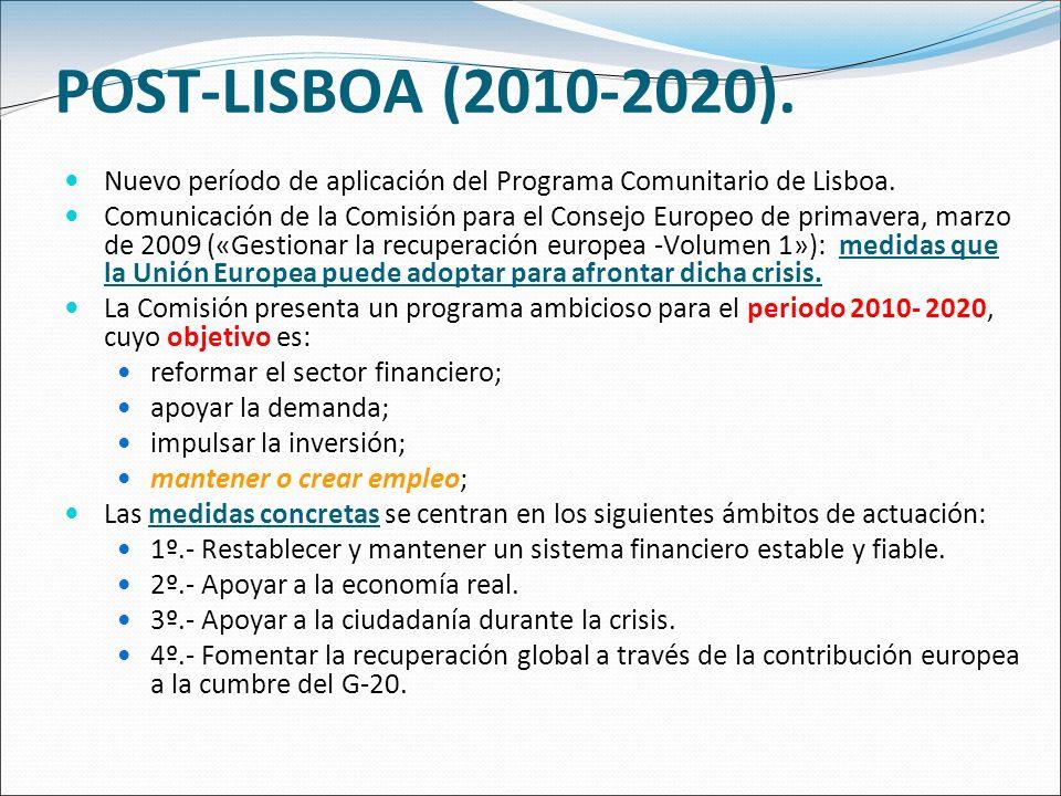 POST-LISBOA (2010-2020). Nuevo período de aplicación del Programa Comunitario de Lisboa. Comunicación de la Comisión para el Consejo Europeo de primav