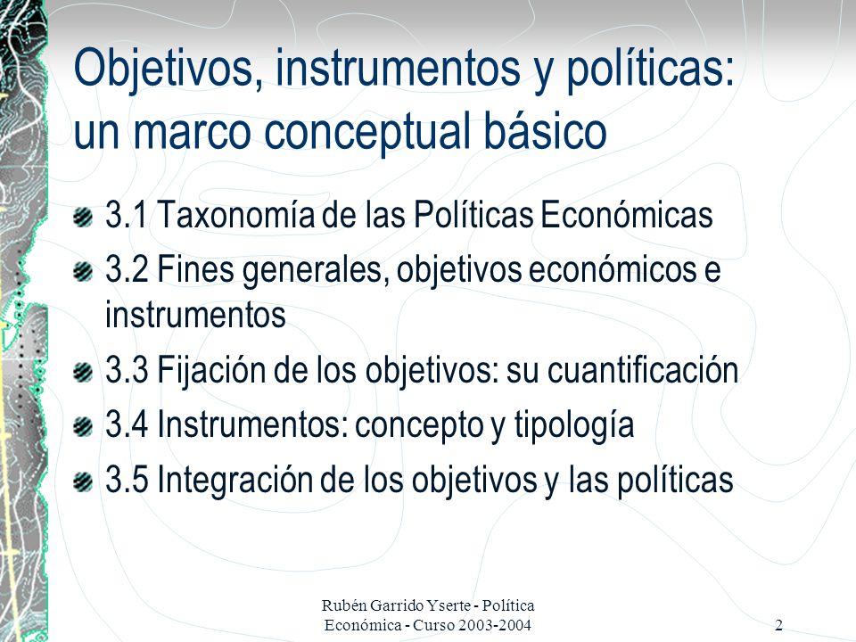 Rubén Garrido Yserte - Política Económica - Curso 2003-200413 3.4 Los instrumentos: tipologías ¿Dónde encajan.