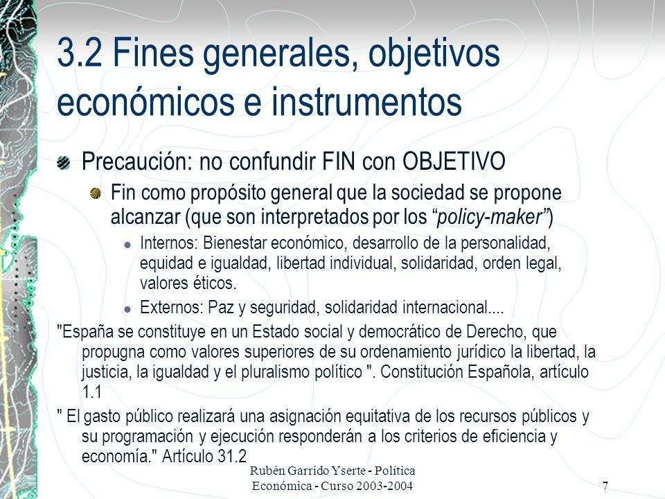 Rubén Garrido Yserte - Política Económica - Curso 2003-20048 Precaución: no confundir FIN con OBJETIVO Objetivos: traslación de los fines generales a conceptos más concretos de carácter socio-económico que implican generalmente una cuantificación –DEFINICIÓN –JUSTIFICACIÓN Y RELEVANCIA DE L OBJETIVO –MEDICIÓN, PRINCIPALES VARIABLES E INDICADORES –TEORÍAS RELEVANTES –POLÍTICAS MÁS IMPORTANTES OBJETIVOS CRECIMIENTO ECONÓMICO PLENO EMPLEO ESTABILIDAD DE PRECIOS DISTRIBUCIÓN DE LA RENTA Y LA RIQUEZA EQUILIBRIO DE LA BALANZA DE PAGOS