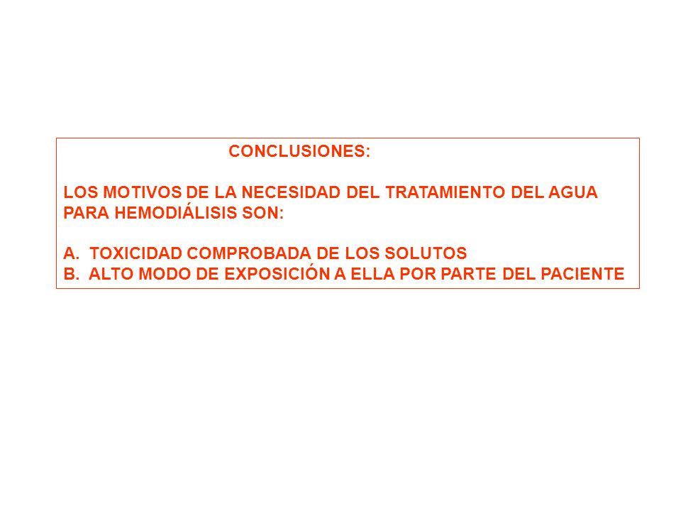 CONCLUSIONES: LOS MOTIVOS DE LA NECESIDAD DEL TRATAMIENTO DEL AGUA PARA HEMODIÁLISIS SON: A.TOXICIDAD COMPROBADA DE LOS SOLUTOS B.ALTO MODO DE EXPOSIC