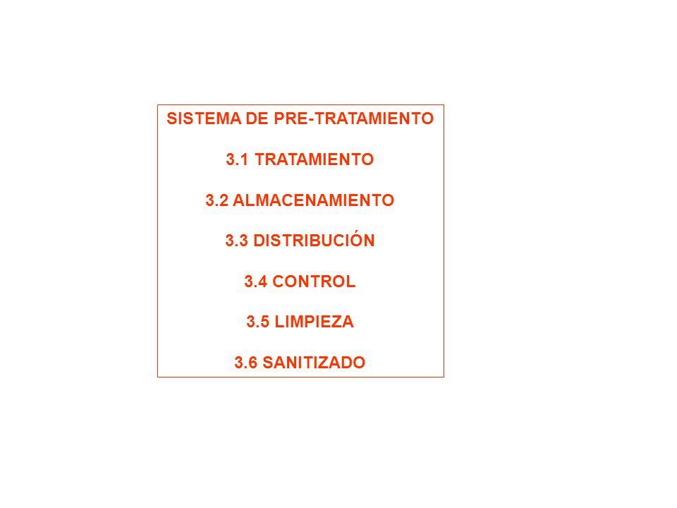 SISTEMA DE PRE-TRATAMIENTO 3.1 TRATAMIENTO 3.2 ALMACENAMIENTO 3.3 DISTRIBUCIÓN 3.4 CONTROL 3.5 LIMPIEZA 3.6 SANITIZADO