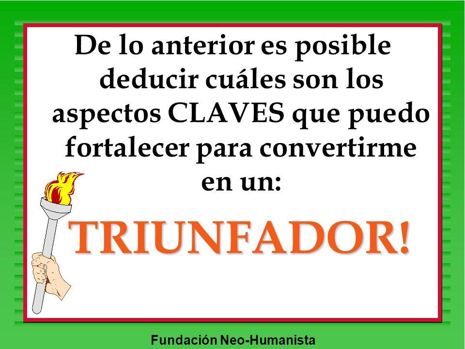 Fundación Neo-Humanista De lo anterior es posible deducir cuáles son los aspectos CLAVES que puedo fortalecer para convertirme en un: TRIUNFADOR!