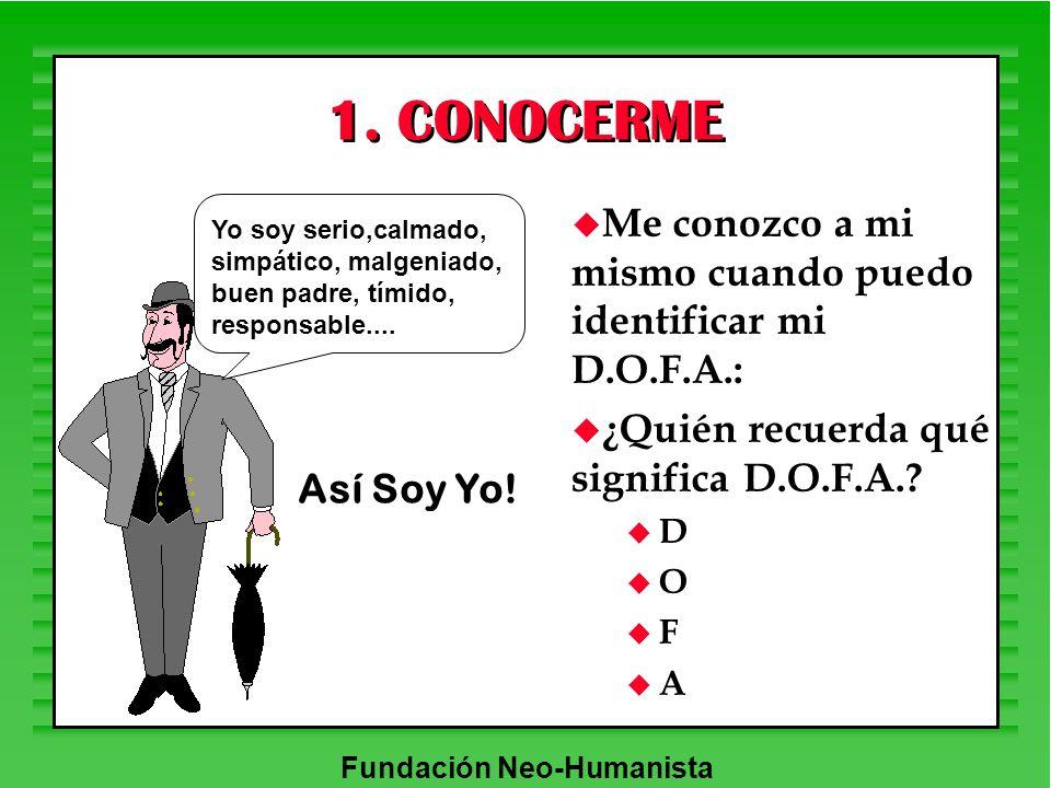 Fundación Neo-Humanista 1. CONOCERME u Me conozco a mi mismo cuando puedo identificar mi D.O.F.A.: u ¿Quién recuerda qué significa D.O.F.A.? u D u O u