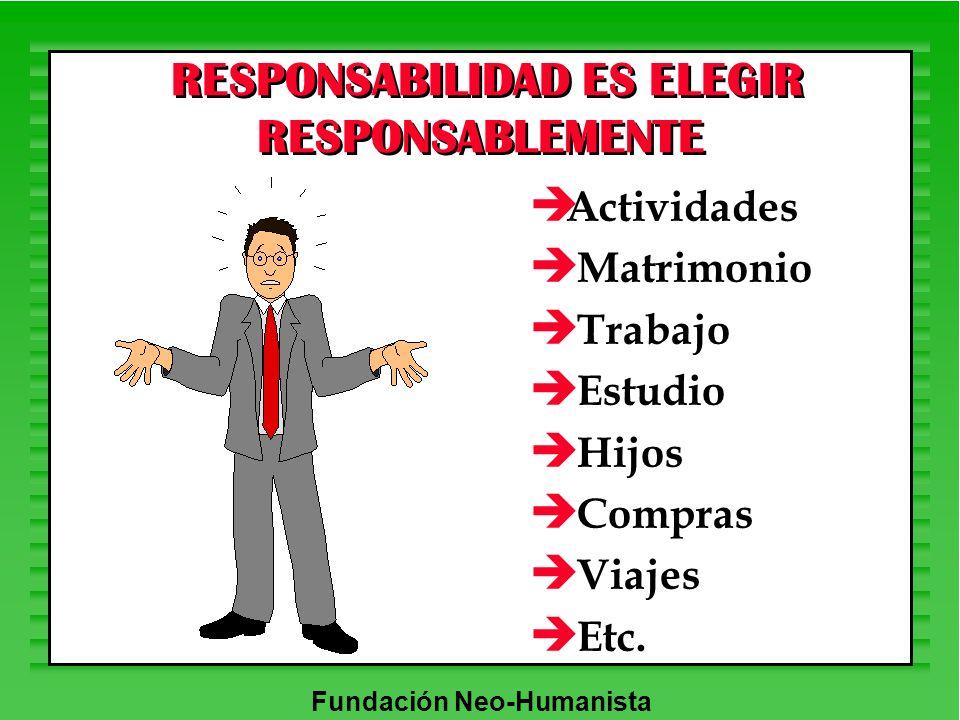 Fundación Neo-Humanista è Actividades è Matrimonio è Trabajo è Estudio è Hijos è Compras è Viajes è Etc. RESPONSABILIDAD ES ELEGIR RESPONSABLEMENTE
