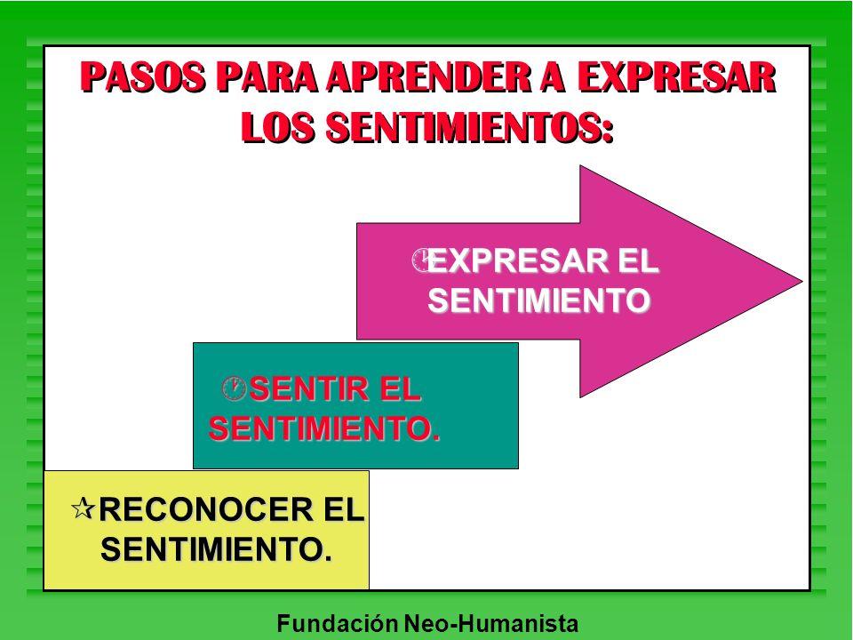 Fundación Neo-Humanista PASOS PARA APRENDER A EXPRESAR LOS SENTIMIENTOS: ¶RECONOCER EL SENTIMIENTO. ·SENTIR EL SENTIMIENTO. ¸EXPRESAR EL SENTIMIENTO