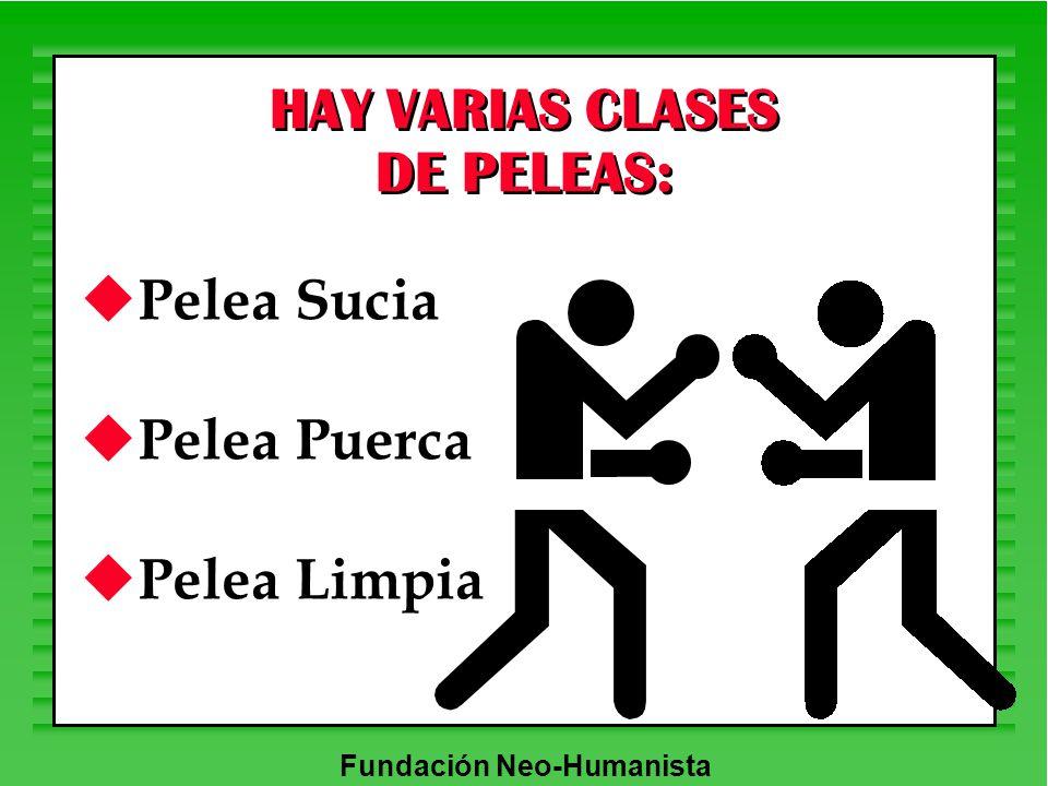 Fundación Neo-Humanista HAY VARIAS CLASES DE PELEAS: u Pelea Sucia u Pelea Puerca u Pelea Limpia