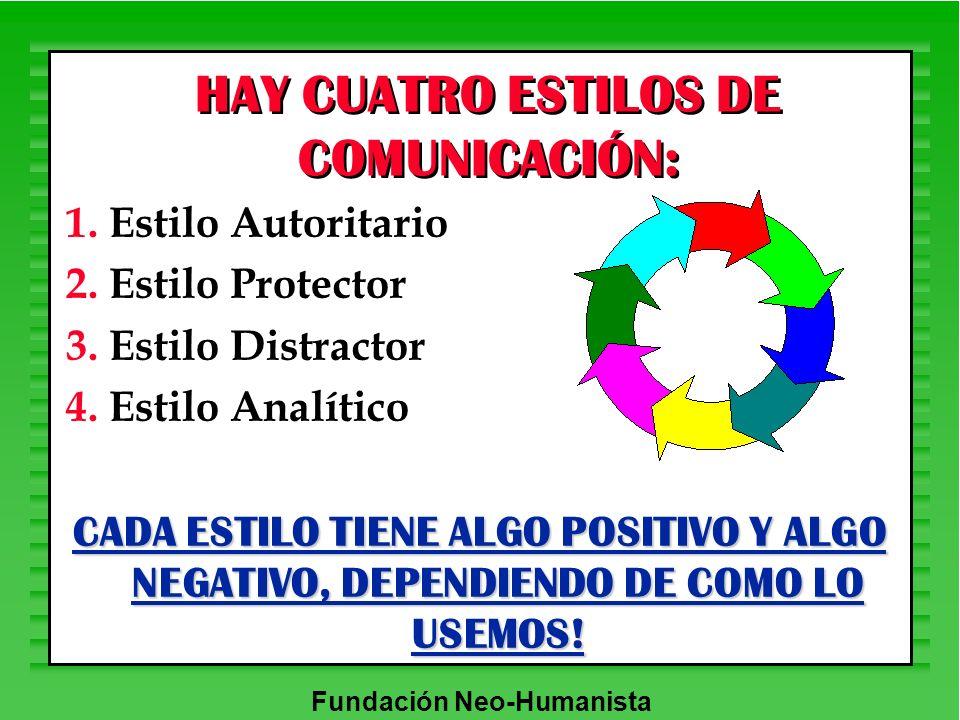 HAY CUATRO ESTILOS DE COMUNICACIÓN: 1. Estilo Autoritario 2. Estilo Protector 3. Estilo Distractor 4. Estilo Analítico CADA ESTILO TIENE ALGO POSITIVO