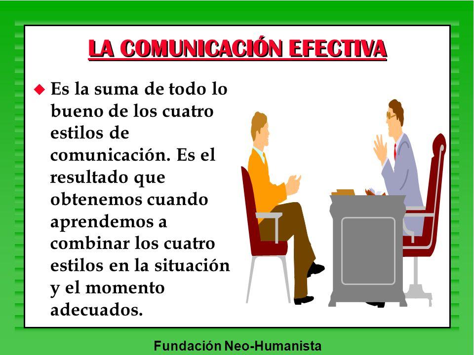 Fundación Neo-Humanista LA COMUNICACIÓN EFECTIVA u Es la suma de todo lo bueno de los cuatro estilos de comunicación. Es el resultado que obtenemos cu