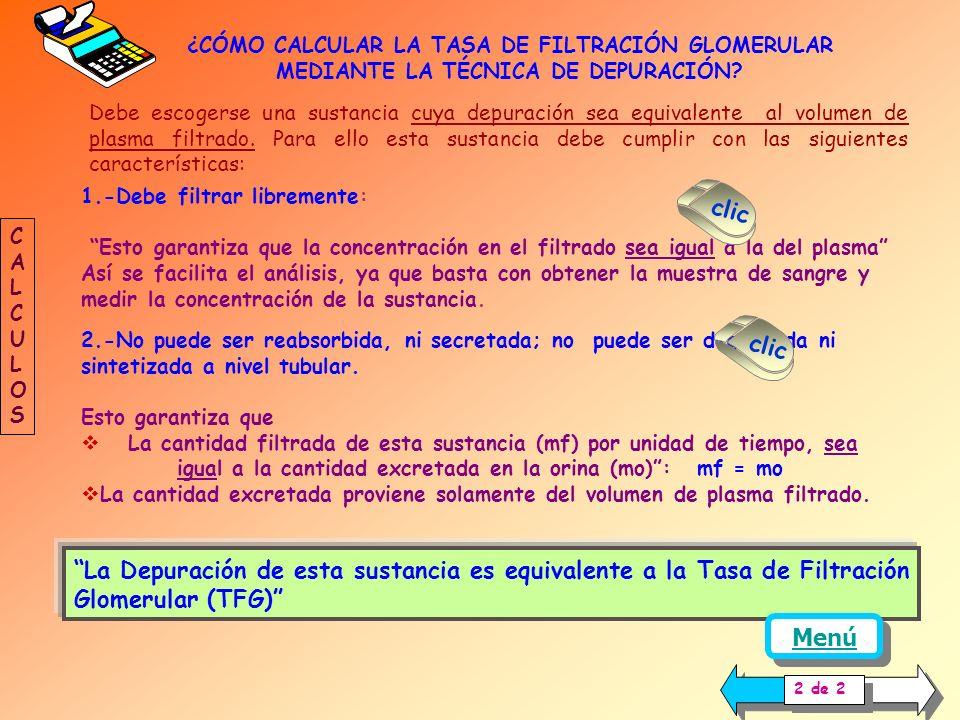 Dx = ( X o. Vo ) / X p mo = X o. Vo Volumen de plasma depurado Dx Sustancia excretada 1 de 2 CALCULOSCALCULOS Menú