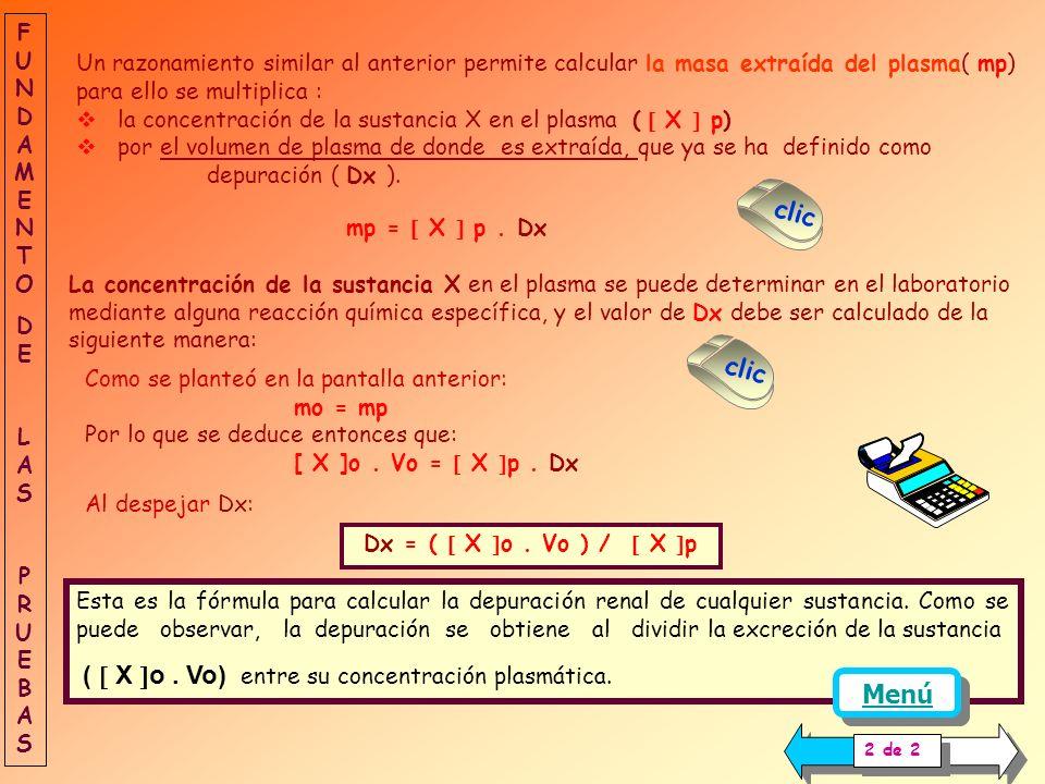 La masa de X excretada en la orina ( mo ) se determina de forma indirecta, para esto: Se recoge la orina y se mide el volumen excretado ( Vo ) en un t