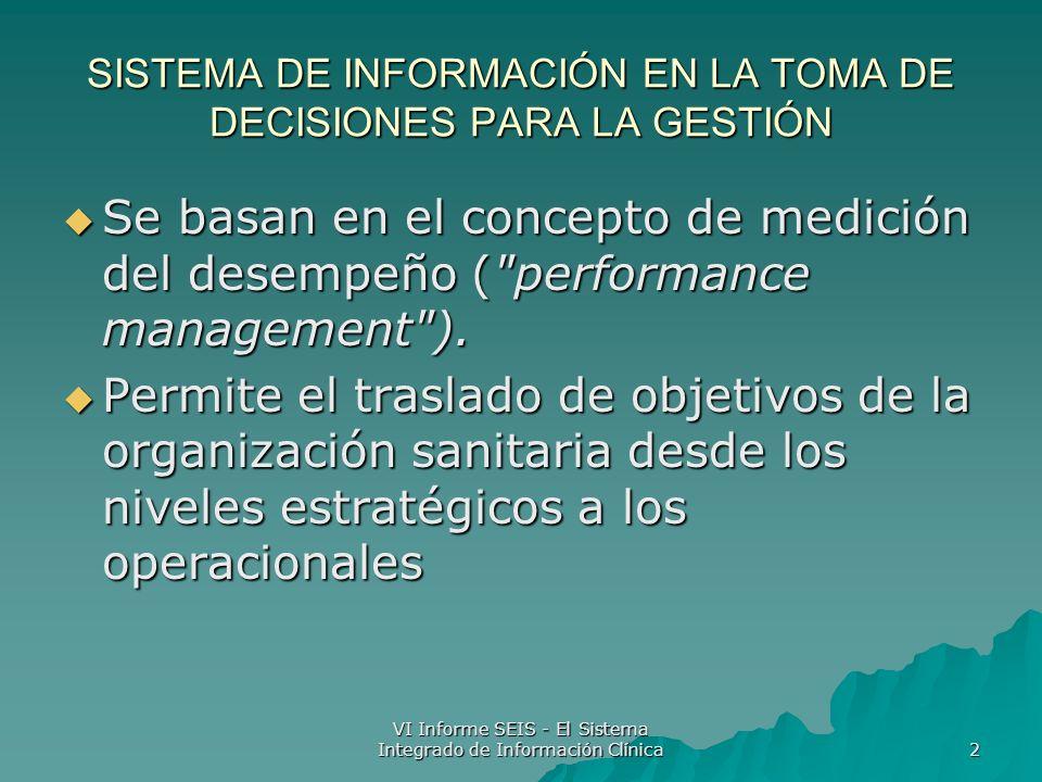 VI Informe SEIS - El Sistema Integrado de Información Clínica 3 SISTEMA DE INFORMACIÓN EN LA TOMA DE DECISIONES PARA LA GESTIÓN Lo que debemos hacer no siempre se corresponde con lo se quiere hacer o se puede hacer .