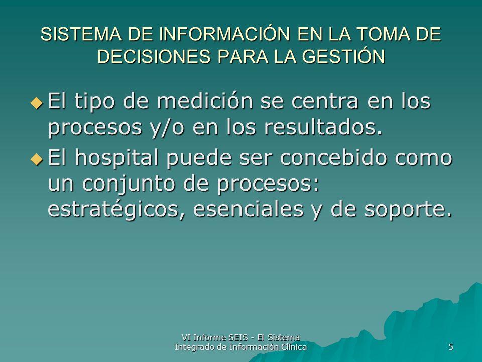 VI Informe SEIS - El Sistema Integrado de Información Clínica 5 SISTEMA DE INFORMACIÓN EN LA TOMA DE DECISIONES PARA LA GESTIÓN El tipo de medición se centra en los procesos y/o en los resultados.