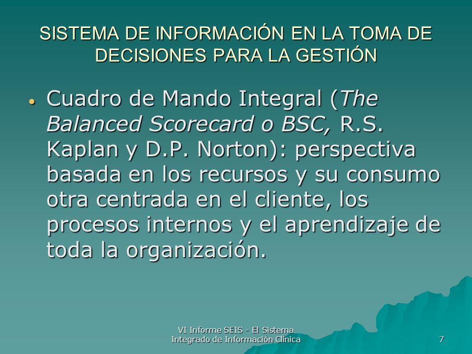 VI Informe SEIS - El Sistema Integrado de Información Clínica 7 SISTEMA DE INFORMACIÓN EN LA TOMA DE DECISIONES PARA LA GESTIÓN Cuadro de Mando Integral (The Balanced Scorecard o BSC, R.S.