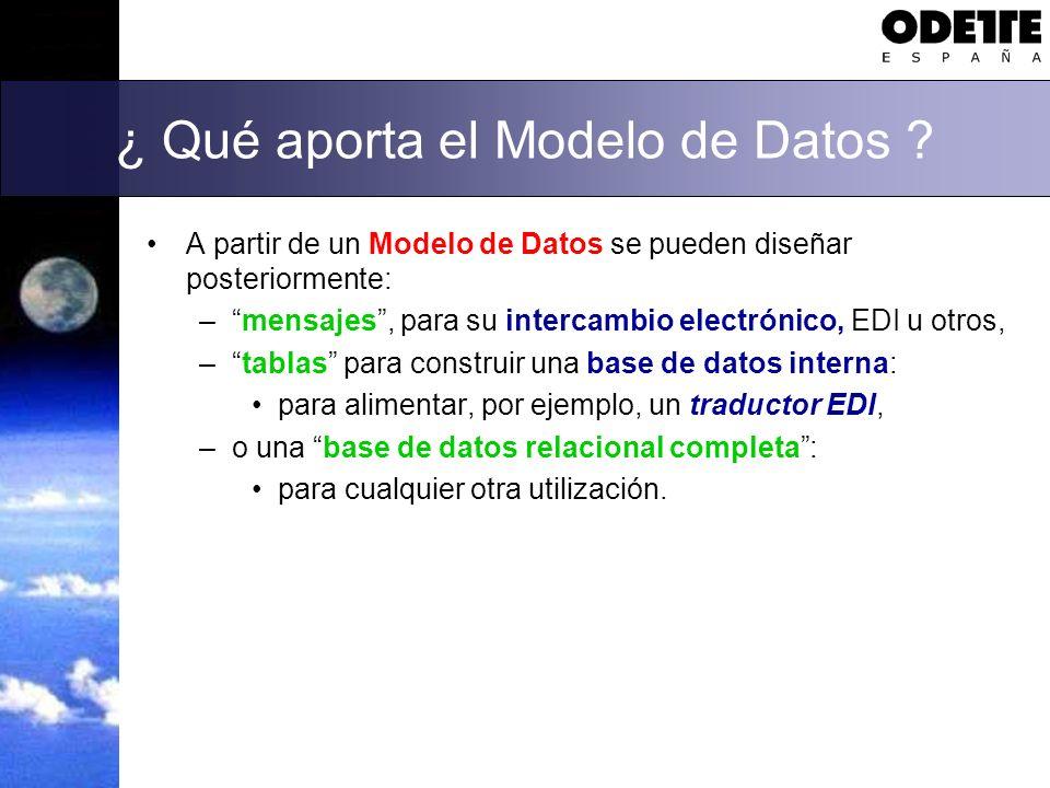 ¿ Qué aporta el Modelo de Datos ? A partir de un Modelo de Datos se pueden diseñar posteriormente: –mensajes, para su intercambio electrónico, EDI u o