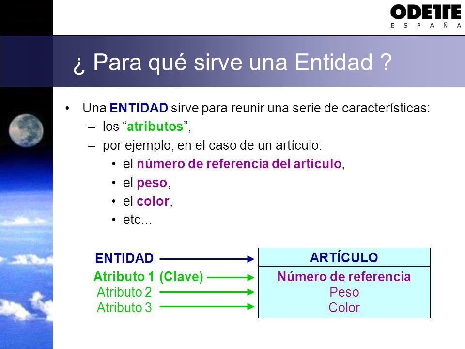 ¿ Para qué sirve una Entidad ? Una ENTIDAD sirve para reunir una serie de características: –los atributos, –por ejemplo, en el caso de un artículo: el