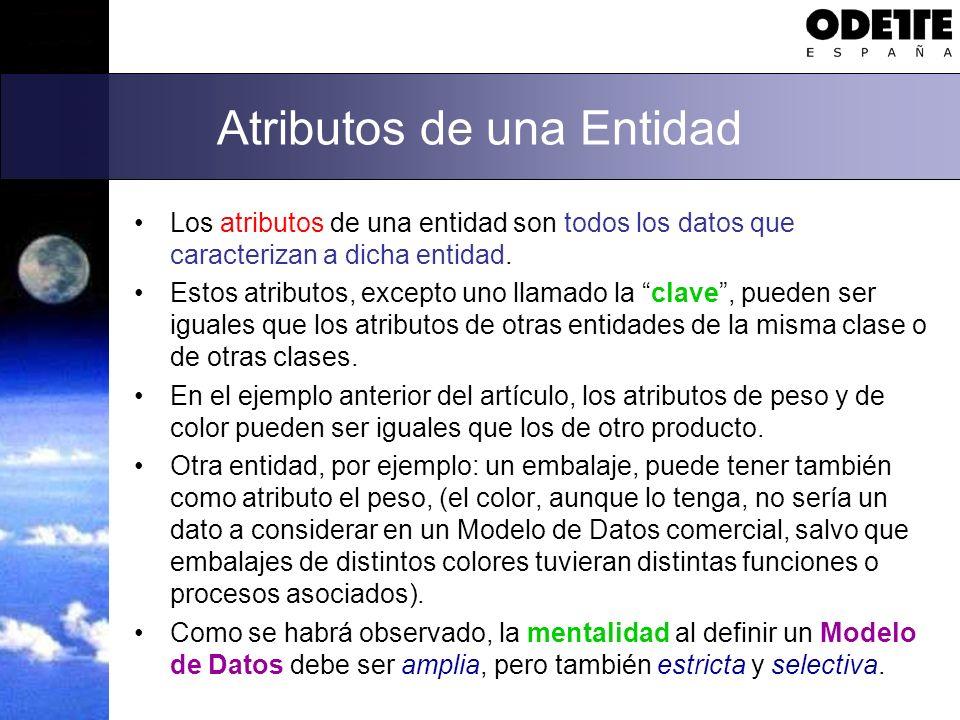 Atributos de una Entidad Los atributos de una entidad son todos los datos que caracterizan a dicha entidad. Estos atributos, excepto uno llamado la cl