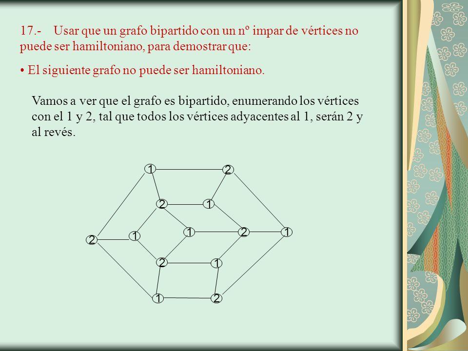 17.- Usar que un grafo bipartido con un nº impar de vértices no puede ser hamiltoniano, para demostrar que: El siguiente grafo no puede ser hamiltoniano.