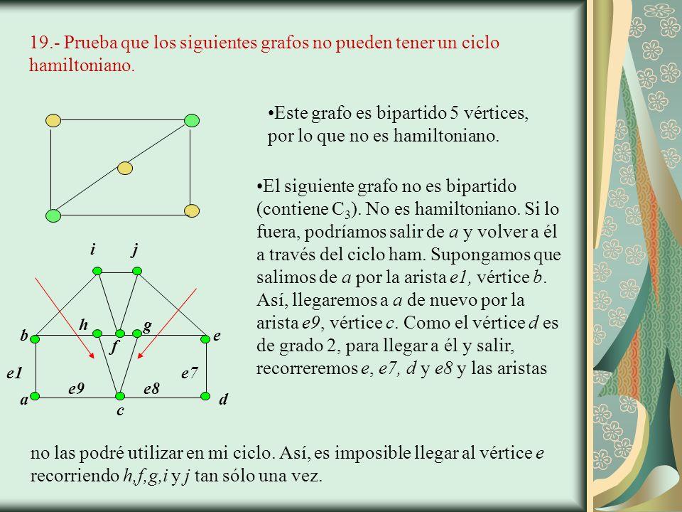 19.- Prueba que los siguientes grafos no pueden tener un ciclo hamiltoniano.