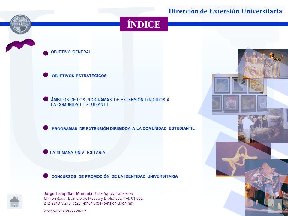 U Dirección de Extensión Universitaria ÍNDICE OBJETIVO GENERAL OBJETIVOS ESTRATÉGICOS ÁMBITOS DE LOS PROGRAMAS DE EXTENSIÓN DIRIGIDOS A LA COMUNIDAD E