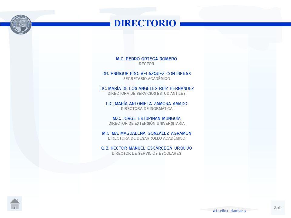 U DIRECTORIO M.C. PEDRO ORTEGA ROMERO RECTOR DR. ENRIQUE FDO. VELÁZQUEZ CONTRERAS SECRETARIO ACADÉMICO LIC. MARÍA DE LOS ÁNGELES RUÍZ HERNÁNDEZ DIRECT