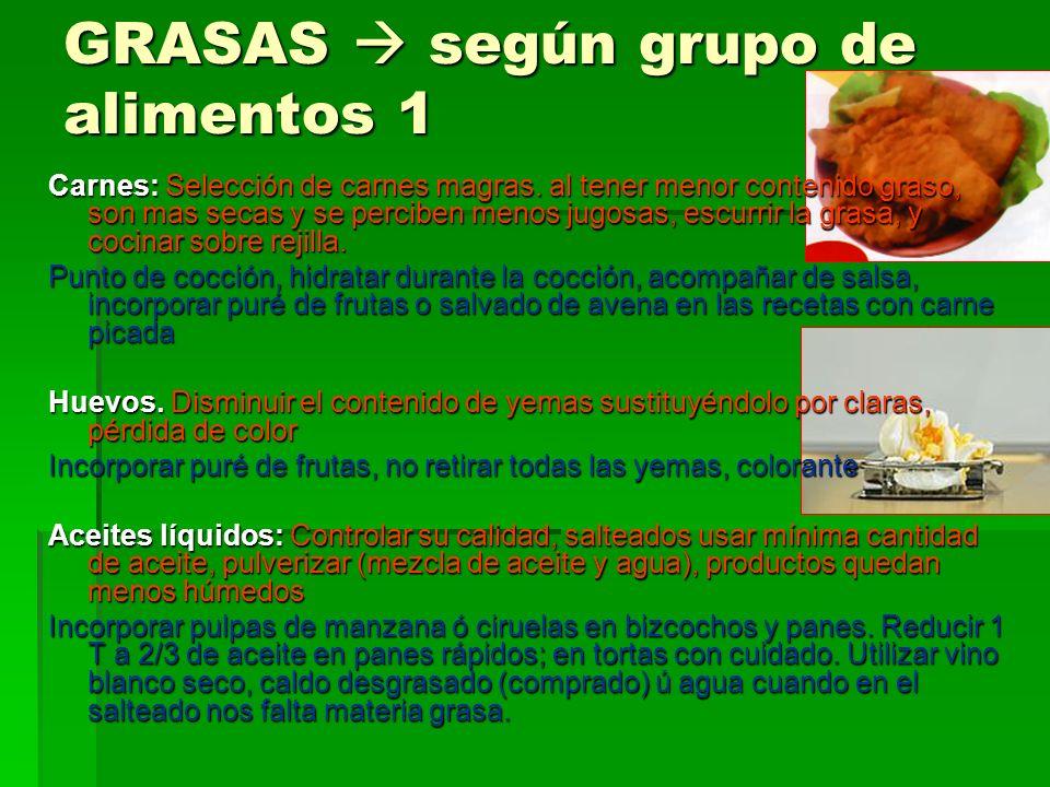 GRASAS según grupo de alimentos 1 Carnes: Selección de carnes magras.