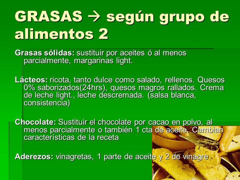 GRASAS según grupo de alimentos 2 Grasas sólidas: sustituir por aceites ó al menos parcialmente, margarinas light.
