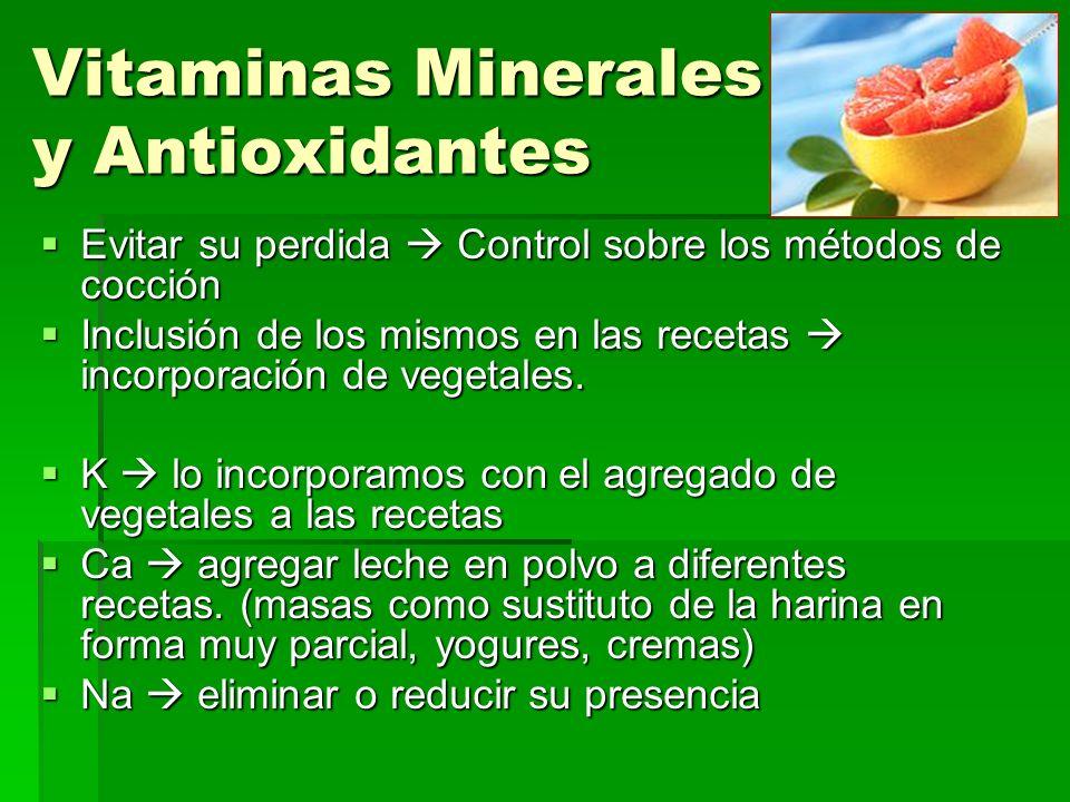 Vitaminas Minerales y Antioxidantes Evitar su perdida Control sobre los métodos de cocción Evitar su perdida Control sobre los métodos de cocción Inclusión de los mismos en las recetas incorporación de vegetales.