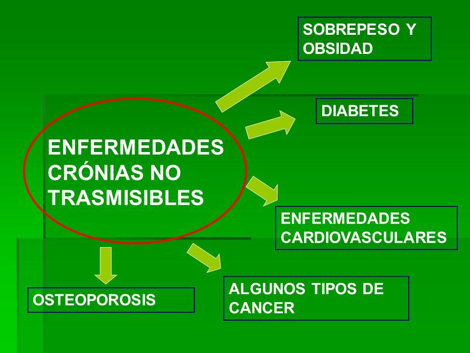ENFERMEDADES CRÓNIAS NO TRASMISIBLES SOBREPESO Y OBSIDAD DIABETES ENFERMEDADES CARDIOVASCULARES ALGUNOS TIPOS DE CANCER OSTEOPOROSIS