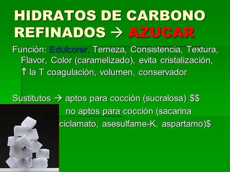 HIDRATOS DE CARBONO REFINADOS AZUCAR Función: Edulcorar, Terneza, Consistencia, Textura, Flavor, Color (caramelizado), evita cristalización, la T coagulación, volumen, conservador Sustitutos aptos para cocción (sucralosa) $$ no aptos para cocción (sacarina no aptos para cocción (sacarina ciclamato, asesulfame-K, aspartamo)$ ciclamato, asesulfame-K, aspartamo)$