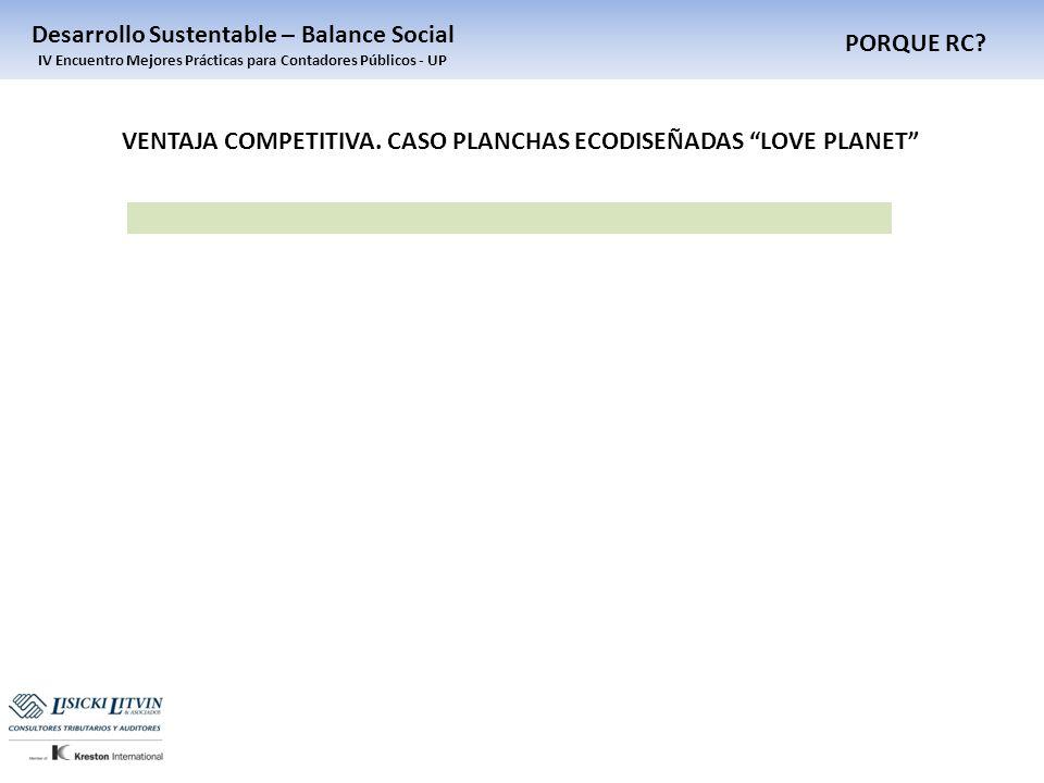 PORQUE RC? Desarrollo Sustentable – Balance Social IV Encuentro Mejores Prácticas para Contadores Públicos - UP VENTAJA COMPETITIVA. CASO PLANCHAS ECO