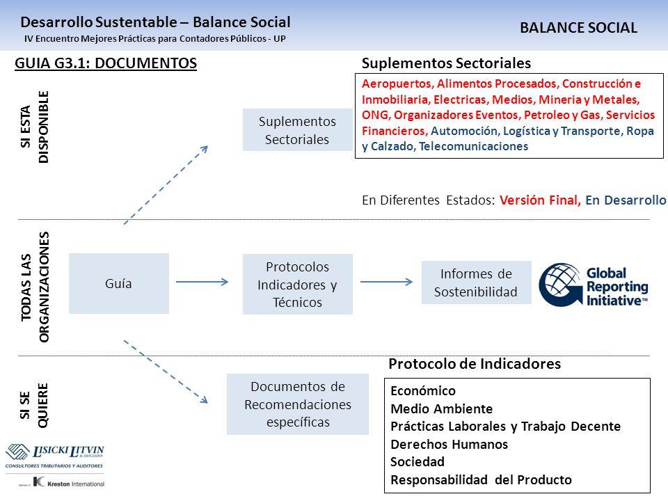 BALANCE SOCIAL Desarrollo Sustentable – Balance Social IV Encuentro Mejores Prácticas para Contadores Públicos - UP Guía Protocolos Indicadores y Técn