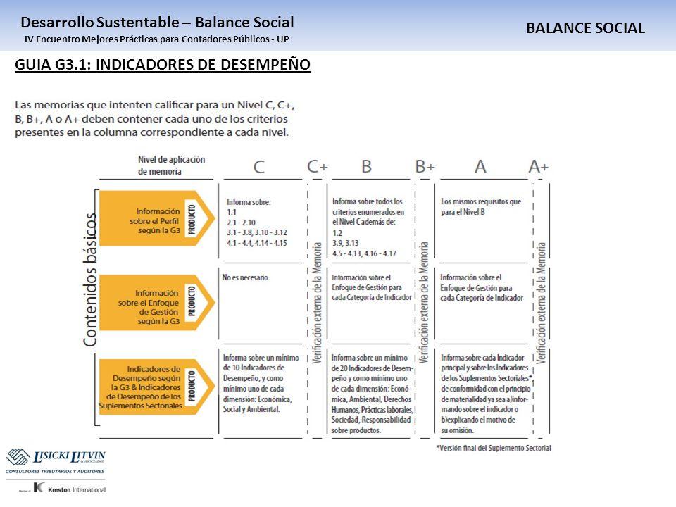 BALANCE SOCIAL Desarrollo Sustentable – Balance Social IV Encuentro Mejores Prácticas para Contadores Públicos - UP GUIA G3.1: INDICADORES DE DESEMPEÑ