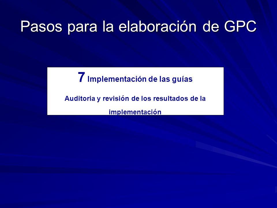 Pasos para la elaboración de GPC 7 Implementación de las guías Auditoria y revisión de los resultados de la implementación