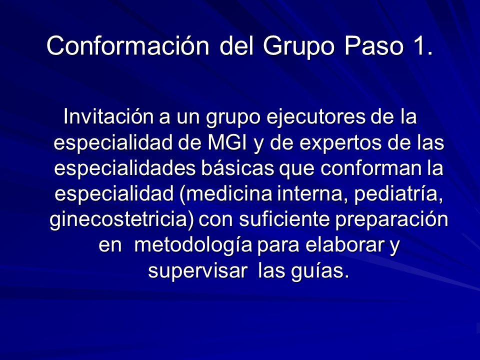 Conformación del Grupo Paso 1. Invitación a un grupo ejecutores de la especialidad de MGI y de expertos de las especialidades básicas que conforman la