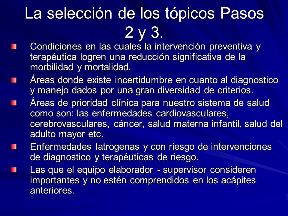 La selección de los tópicos Pasos 2 y 3. Condiciones en las cuales la intervención preventiva y terapéutica logren una reducción significativa de la m