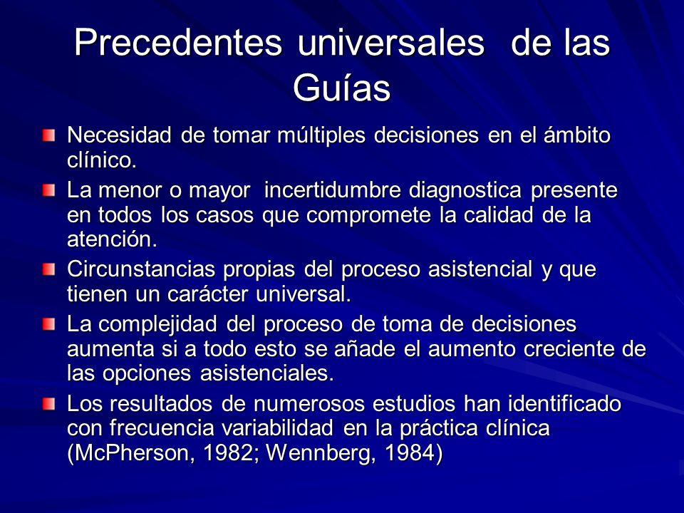 Precedentes universales de las Guías Necesidad de tomar múltiples decisiones en el ámbito clínico. La menor o mayor incertidumbre diagnostica presente