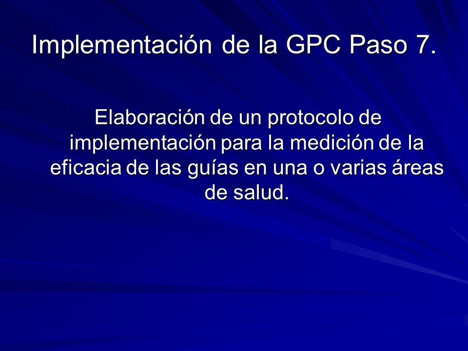 Implementación de la GPC Paso 7. Elaboración de un protocolo de implementación para la medición de la eficacia de las guías en una o varias áreas de s