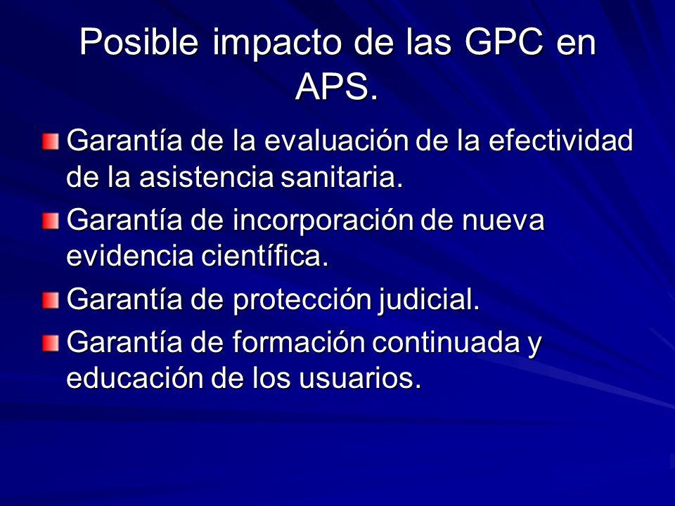 Posible impacto de las GPC en APS. Garantía de la evaluación de la efectividad de la asistencia sanitaria. Garantía de incorporación de nueva evidenci
