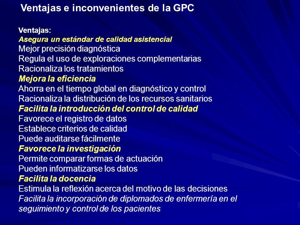 Ventajas e inconvenientes de la GPC Ventajas: Asegura un estándar de calidad asistencial Mejor precisión diagnóstica Regula el uso de exploraciones co