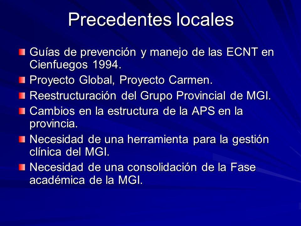 Precedentes locales Guías de prevención y manejo de las ECNT en Cienfuegos 1994. Proyecto Global, Proyecto Carmen. Reestructuración del Grupo Provinci